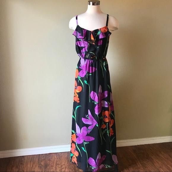 0e89548d5420 Lane Bryant Dresses & Skirts - Lane Bryant Black Maxi Dress with Floral  Print